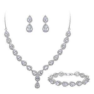 Clearine Damen Hochzeit Braut Tropfen CZ Unendlichekeit Figur 8 Y-Halskette Tennis Armband Dangle Ohrringe Set