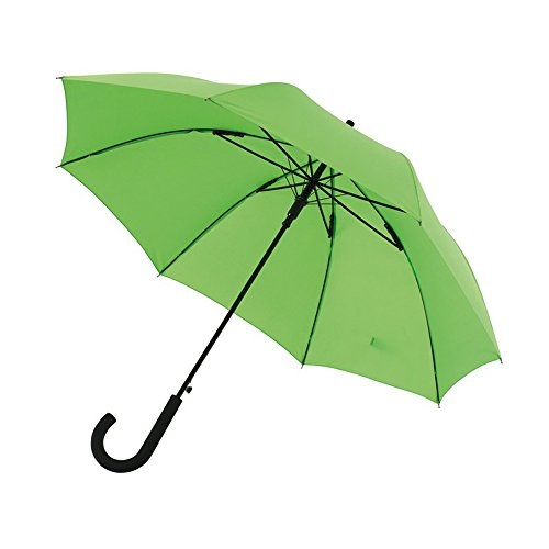 Automatischer Stockschirm Metallstock Regenschirm in hellgrün Ø103 cm Der Schirm verfügt über Schließband & Klettverschluss