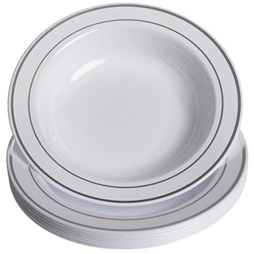 GRÄWE Einweg-Suppenteller Ø 19 cm, 10er Set - tiefe Kunststoff-Teller in Porzellan-Optik, weiß/silber