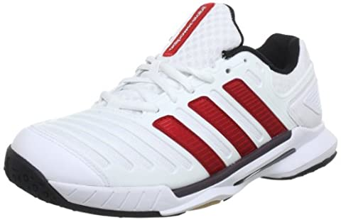 adidas adipower stabil 10.0 Synthetic, Chaussures indoor homme - Blanc (Running White Ftw / Light Scarlet / Black 1), 40 2/3 EU