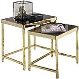 FineBuy Satztisch VIVI schwarz/Gold Beistelltisch Metall/Glas | Couchtisch Set aus 2 Tischen | Kleiner Wohnzimmertisch | Metalltisch mit Glasplatte | Ablagetisch modern