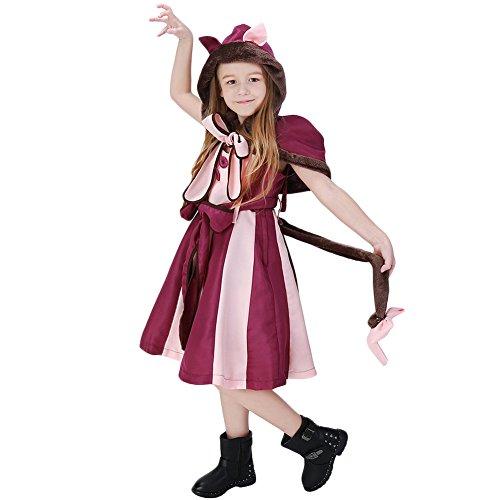 Costour Mädchen Kostüm Partykleidung Aufführung Katze Cosplay Alice im Wunderland Prinzessin Kleid (Katze Kostüm Alice Im Wunderland)