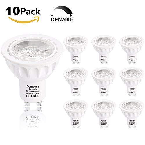 Bomcosy Ampoule LED GU10 Dimmable 6W Spot LED 540 Lumens Faisceau à 35° équivalent Ampoules Halogène 50W Blanc Froid 6000K Lot de 10
