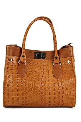 - Sac à main italien en cuir véritable avec imitation croco et cuir lisse Couleur marron cognac 31x 25x 16cm (L x h x l)