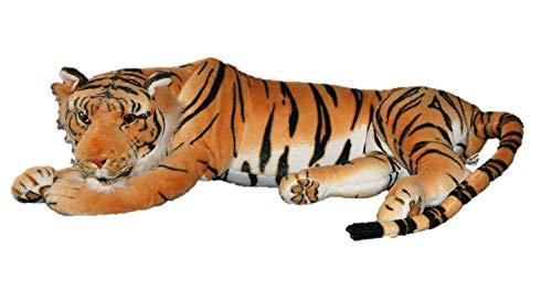 Geschenkestadl Brauner Tiger XXL Plüschtier 85 cm Kuscheltier Softtier Raubkatze braun Stofftier