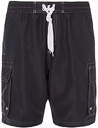 6dc282ffc8 Pierre Roche Mens Plus Size Mesh Lined Long Plain Swim Shorts