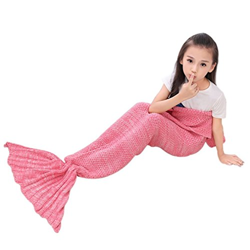 renoliss uncinetto maglia sirena coda coperta sacco a pelo, sacco a pelo per bambini, tutte le stagioni coperta, 140x 70cm & # xFF08; 140x 70,1cm & # xFF09; Rosa Pink