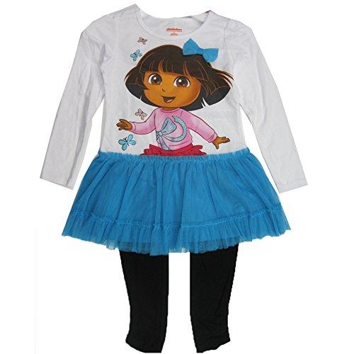 Dora Kleider Mädchen Für (Disney Little Mädchen blau schwarz Dora the Explorer Skirted 2PC, Leggings Set 4–6x)