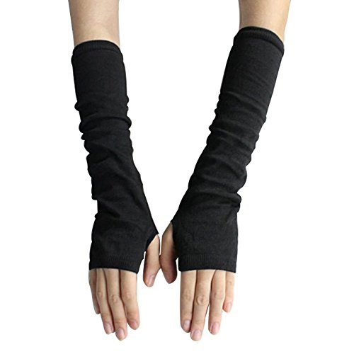 Bluelans® Armstulpen Pulswärmer lange fingerlos Handschuhe Damenhandschuhe Winterhandschuhe Fäustlinge Fausthandschuhe (Schwarz) - Fingerlose Und Weiße, Handschuhe Schwarze