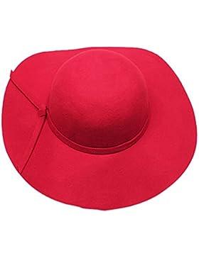 SODIAL(R) Eleganti ragazze dei capretti tesa larga Retro sentito Bowler Floppy Cap Cloche hat- rosso