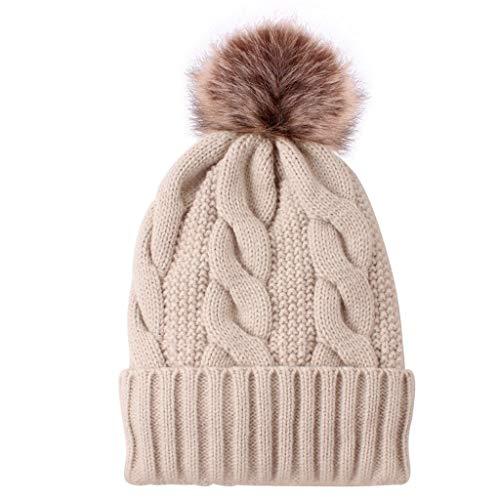 ➤Refill➤Strickmützen für Damen, Frauen Mädchen Strickmütze Pelzmütze Beanie Hüte mit Fell-Bommel, Kunstfell, Winter-Mütze