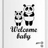 Finloveg Sticker Panda Animal Vinyle Autocollant Bienvenue Bébé Amovible Stickers Muraux Mignon Panda Mur Mural Pépinière Porte Vinyle Autocollant 42X57Cm