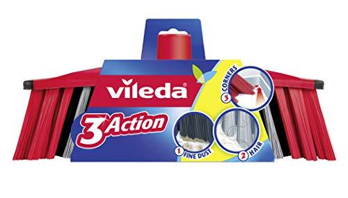 Vileda 3Action Besen - Kombination von 3 Borsten - für Staub, groben Schmutz & Haare und für Ecken Besen 3