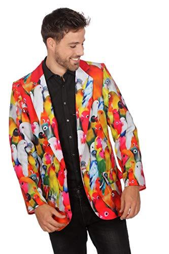 Wilbers Vogelkostüm Sakko Kostüm Dschungel Papagai Herrenkostüm Vogel Karneval Fasching Bunt 60 (Vogel Kostüm Männer)