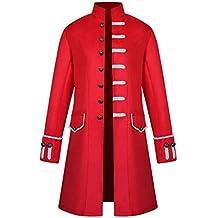 Longra Herren Langer Mantel Steampunk Gothic Jacke Vintage Viktorianischen Gothic Uniform Cosplay Kostüm Smoking Jacke mit Blumen Aufdruck Retro