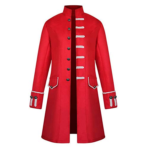 Piraten Mantel Rotes Kostüm - Dihope Herren Gothic Jacke Viktorianisch Mantel Vintage Kostüm Mittellang Cosplay Uniform