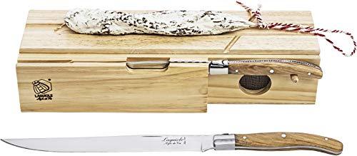 Laguiole Style de Vie Schinkenmesser Luxury Line, mit Wurstdose, Olivenholz
