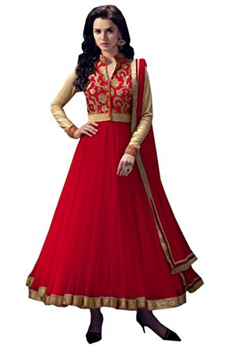 OmSai Fashion Women's Clothing Semi-Stiched New Anarkali Soft Net Salwar Suit With...