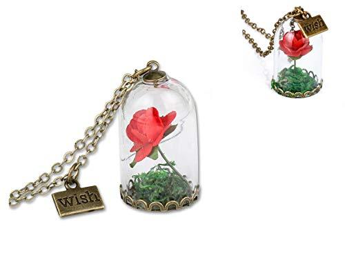 Hayatec Neuen Disney Beauty und The Beast Inspiriert Enchanted Rose Dome Bronze Halskette Anhänger