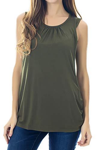 700b2861 Smallshow Umstandsmode Damen Stillshirt T-Shirt Umstandstop Umstandsshirt  Schwangerschaft Stilltop Tank Ärmellos M Army Green