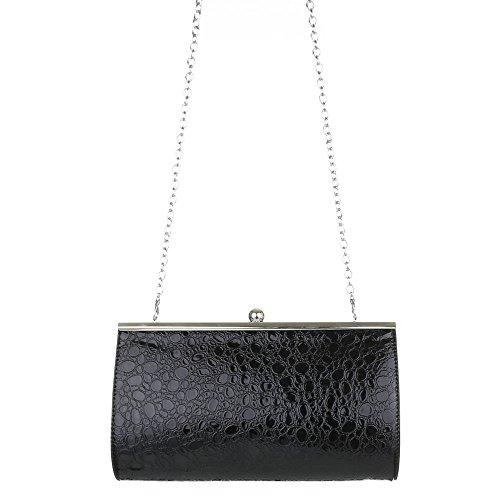 Clutch mit Prägung und Metallic Look - verschiedene Farben - mit zusätzlicher Schulterkette und Clipverschluß Schwarz