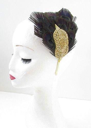 Noir et or plumes de paon bandeau Bibi style vintage années 1920 Flapper Deco V86- Vitrine * * * * * * * * exclusivement vendu par – Beauté * * * * * * * *