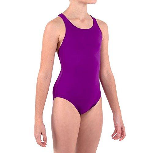 EXKLUSIVE LEONY Mädchen Badeanzug Schwimmanzug Schwimmen, Swimming Suit, lila (146-158 cm / 11-12 Jahre)