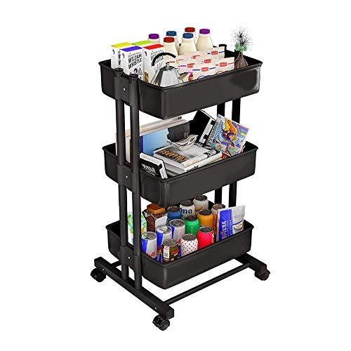 YUSDP 3-Tier Roll Utility Cart, Heavy-Duty-Speicher-Organizer-Durable Metal Tube-Hohlkorb-Design, fixierbare Gummirad - für Bad Küche Salon - Heavy-duty-kunststoff Regale