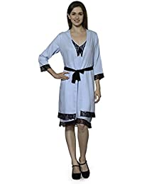 9840ae4923 Patrorna Women s Knee Length Nighty Night Dress Gown with Robe in Ocean Blue  (Size S