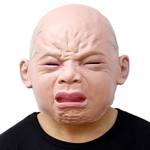(CLEAVE WAVES Neuheit Latex Rubber Creepy Cry Baby Gesicht Kopf Maske Halloween Christmas Party Kostüm Dekorationen Erwachsenen Zubehör)