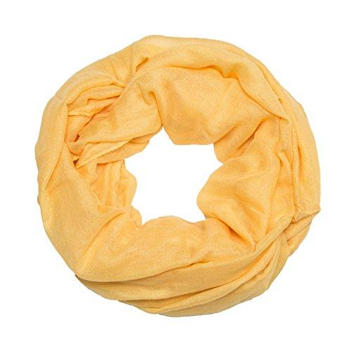 MANUMAR Loop-Schal für Damen einfarbig | feines Hals-Tuch in gelb als perfektes Sommer-Accessoire | Schlauch-Schal | Damen-Schal | Rund-Schal | Geschenkidee für Frauen und Mädchen