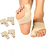 2 Pairs Bunion Corrector and Bunion Pain Relief Sleeve with Gel Bunion Pad Cushion for Big Toe Straightener, Hallux Valgus, Hammer Toe, Tailors Bunion for Day and Night Use, Fits Men and Women