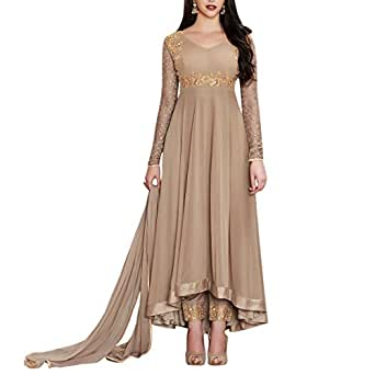 Ethnic Empire Women's Georgette Embroidered Long Semi Stitched Anarkali Salwar Suits (Ethnic_Er10473_Grey_Free Size)