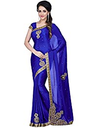 Charlys Designer Women's Chiffon Saree With Blouse Piece (Abcd_Blue)