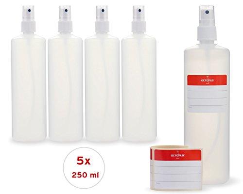 5 x 250 ml Sprühflaschen mit Fingerzerstäuber, Plastikflaschen mit Pumpsprüher, Kunststoffflaschen aus HDPE mit Zerstäuber, inkl. 5 Beschriftungsetiketten (Sprühflasche 250 Ml)