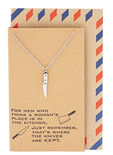 Quan Jewelry Halskette mit Dolch-Anhänger aus Edelstahl, Empowering Women Zitat Karte (Versteckte Messer, Schmuck)