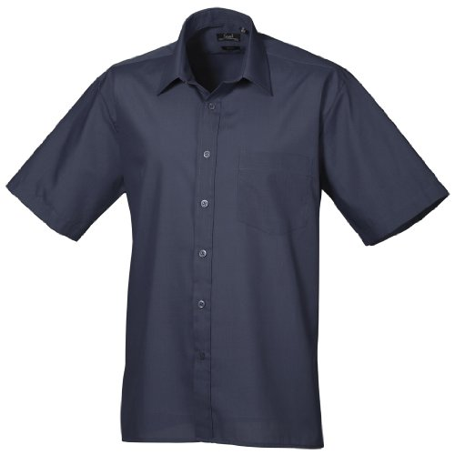 Premier Workwear Herren Businesshemd Poplin Short Sleeve Shirt Navy