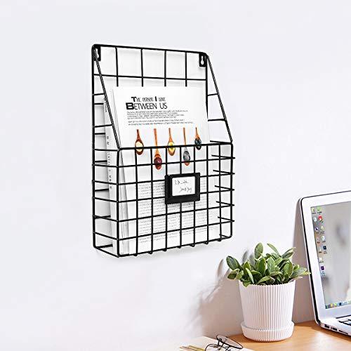 Jeteven Wandregal, Zeitschriftenhalter Wandhalterung Zeitungshalter Wandkorb Eisenregal für Bücher Büro Wohnzimmer Küche Schwarz