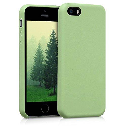 Kwmobile cover per apple iphone se/5/5s - custodia in silicone tpu - back case protezione posteriore per cellulare verde chiaro