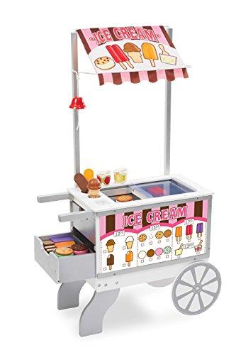 Melissa & Doug 19350 Imbisswagen für Snacks und Süßigkeiten aus Holz 52 Spielesswaren, beidseitig benutzbare Markise Imbiss-stand