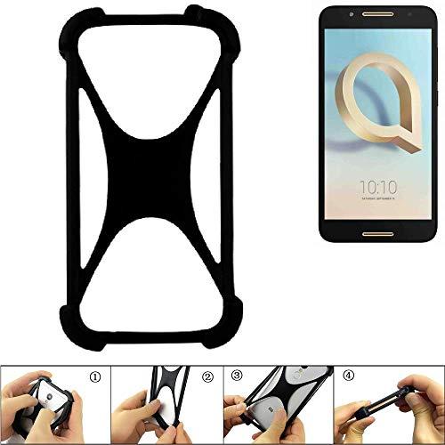 K-S-Trade Handyhülle für Alcatel A7 Schutz Hülle Silikon Bumper Cover Case Silikoncase TPU Softcase Schutzhülle Smartphone Stoßschutz, schwarz (1x)
