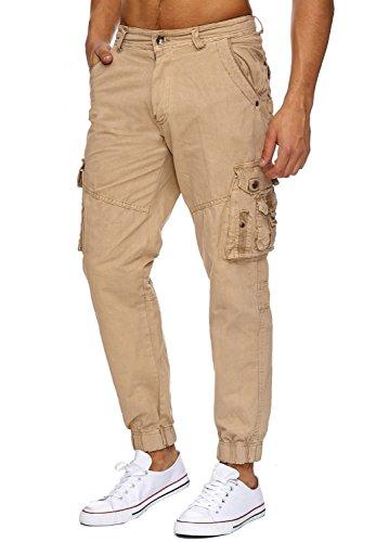 Pantalons Jeans Cargo RANGER Nr.1612 Straight Fit pour hommes (100% coton) Beige