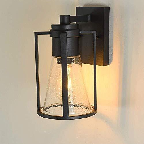 DWLXSH Rostfreie wasserdichte Schwarze Lampe, antike Schmiedeeisen-Metallgaragen-Wand-Leuchter-Beleuchtung -
