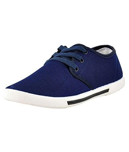 Leewon Men's Blue Canvas Sneakers 7  available at amazon for Rs.185