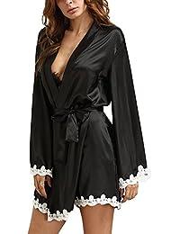 Minetom Mujer Vestido Kimono Satén Camisón Par Robe Albornoz Pijama Estilo Largo Nuevo Encaje V Profunda Cuello La Decoración Del Cordón