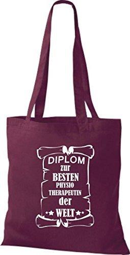 Shirtstown Sac en tissu Diplôme a la meilleur Physiotherapeutin Le Monde Rouge Bordeaux