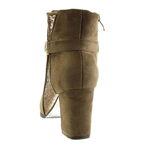 Angkorly - Scarpe Da Donna Stivaletti - Stivali Da Equitazione - Kavalier - Biker - Lucido - Perizoma - Tacco Alto Dorato Tacco 7,5 Cm Kaki