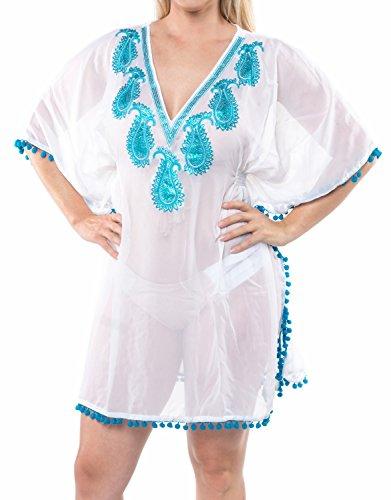 La Leela tiefer Ausschnitt Pailletten bestickt Paisley pom pom schiere Super lihgtweight Chiffon Badebekleidung Badeanzug 4 in 1 Strand Bikini Vertuschung Grund Kleid Cocktailparty Kimono turquois (Bestickte Damen-badeanzug)