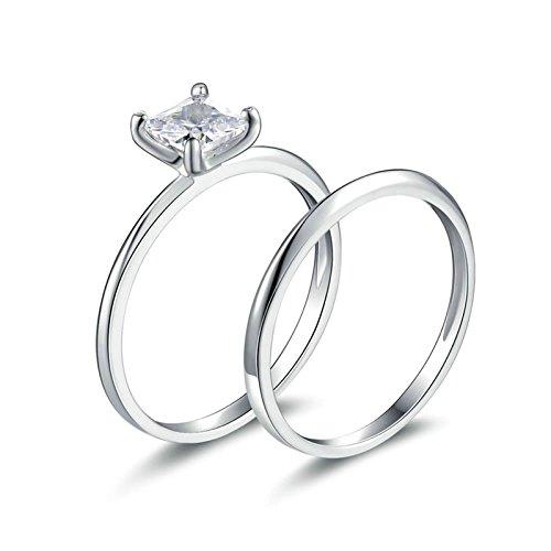 SonMo Ring Silber 925 Hochzeit Ring Eheringe Heiratsantrag Ring Solitär Ring Silber Weiß Ringe mit Diamant Zirkonia Ring Damen Größe 60 (19.1)