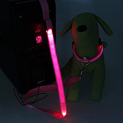 Sijueam Led Pet Dog Collar USB Rechargeable Night Safety Flashing Light up Necklace Loop Puppy Illuminating Collar with Adjustable Buckle,Large size in Pink